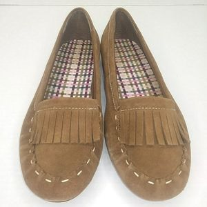 Lands' End Suede Moccasin Style Flats with Fringe